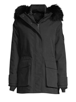 49 WINTERS Mid Parka Fox Fur Trim Coat in Black
