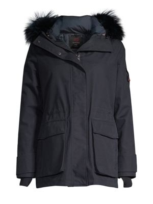 49 WINTERS Mid Parka Fox Fur Trim Parka in Navy