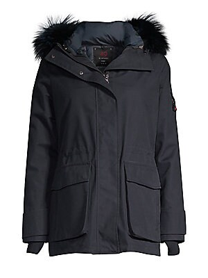Image of Plush fox fur trim adds chic defnition to a cozy parka designed with a removable hood. Removable hood with fox fur trim Stand collar Long sleeves Grip-tape strap cuffs Thumb holes Zip and snap front Sleeve zip pocket Elasticized waist Waist flap patch poc