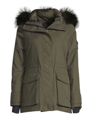 49 WINTERS Mid Parka Fox Fur Trim Jacket in Forest