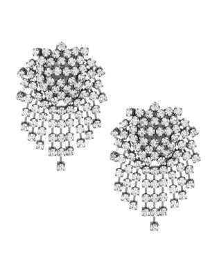 Kenneth Jay Lane Crystal Cluster Fringe Earrings
