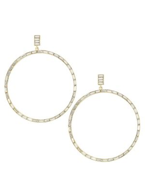Kenneth Jay Lane Crystal Drop Hoop Earrings