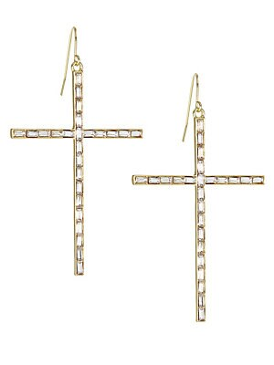 "Image of Large cross earrings encrusted with square stones. Goldtone Glass Fish hook Made in USA SIZE Drop, 3"". Fashion Jewelry - Trend Jewelry. Kenneth Jay Lane. Color: Gold."