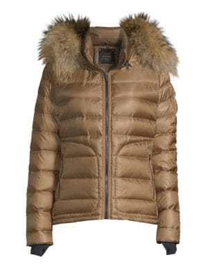49 WINTERS Tailored Down Fox Fur Trim Puffer in Sepia