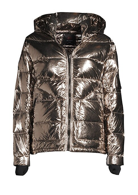"""Image of Sporty quilted puffer jacket with a cool metallic finish. Attached hood. Stand collar. Long sleeves. Zip front. Waist zip closure. Fully lined and filled. Polyurethane/polyamide. Wipe clean only. Imported. SIZE & FIT. About 24"""" from shoulder to hem. Model"""