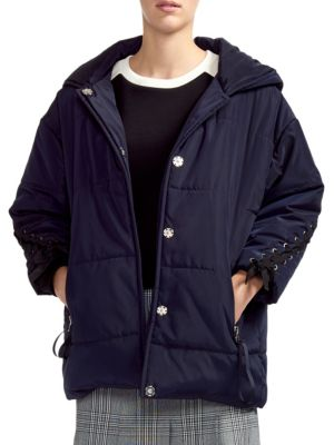 Maje Lace-Up Padded Jacket
