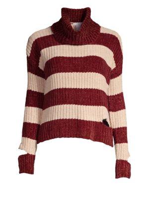 DESIGN HISTORY Peak-A-Boo Turtleneck Sweater in Bordeaux Combo