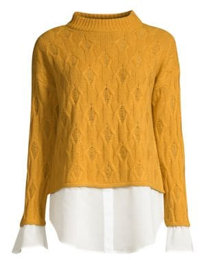 DESIGN HISTORY Cropped Mixed Media 2Fer Shirt Sweater in Harvest Gold