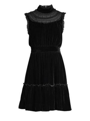 Sleeveless Velvet Lace-Trim Dress, Black