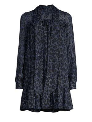 Leopard Clip Dot Long-Sleeve Mini Dress, Blue