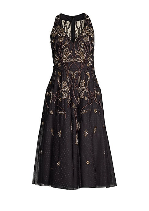 """Image of Alluring sequined floral embroidery accentuates this dress' quirky polka dots.V-neck. Sleeveless. Concealed back zip. Banded waist. Shell/lining: Polyester. Spot clean. Imported. SIZE & FIT.A-line midi silhouette. About 35"""" from shoulder to hem. Model sho"""