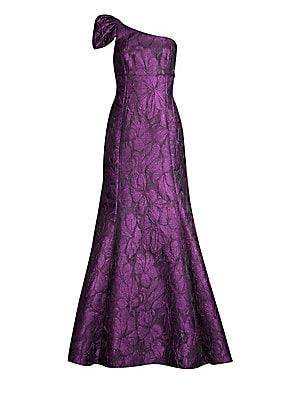 One Shoulder A Line Jacquard Gown by Aidan Mattox