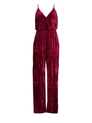 Sleeveless Crinkle Velvet Jumpsuit in Crimson