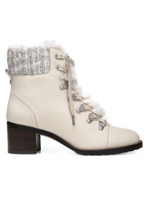 9f9bb93c5 Sam Edelman Manchester Faux Fur Lace-Up Boots In Ivory