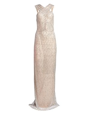 NAEEM KHAN Halter-Neck Sleeveless Beaded-Embroidered Evening Gown in Silver
