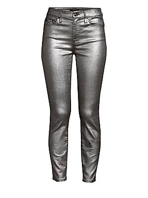 "Image of A metallicized finish imbues these ankle skinnies with a festive air. Belt loops Five-pocket style Zip fly with button closure Cotton/polyester Machine wash Imported SIZE & FIT Rise, about 9"" Inseam, about 28"" Leg opening, about 10"" Model shown is 5'10"" ("