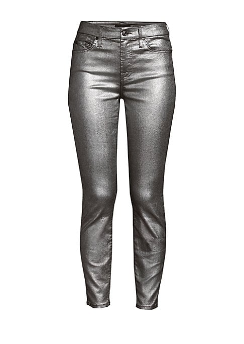 "Image of A metallicized finish imbues these ankle skinnies with a festive air. Belt loops. Five-pocket style. Zip fly with button closure. Cotton/polyester. Machine wash. Imported. SIZE & FIT. Rise, about 9"".Inseam, about 28"".Leg opening, about 10"".Model shown is"