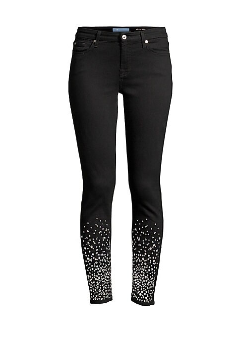 "Image of Sexy skinny jean with a statement rhinestone embellished hem. Five pocket styling. Zip fly. Embellished hem. Skinny leg. Cotton/lyocell/polyester/rayon/ spandex. Machine wash. Imported. SIZE & FIT. Rise, about 9"".Leg-opening, about 10"".Inseam, about 28"".M"