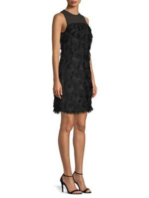 Jacquard Peacock Feather Dress, Black