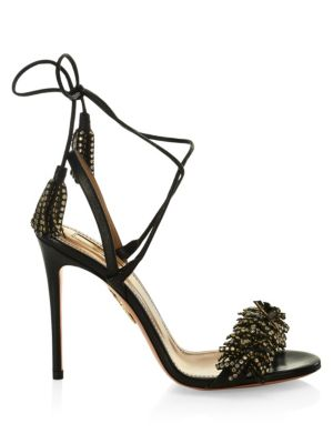 Wild Crystal Leather Tied Strap Sandals in Black