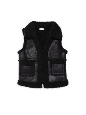 Little Girl's & Girl's Sherpa Lined Faux Leather Vest by Splendid