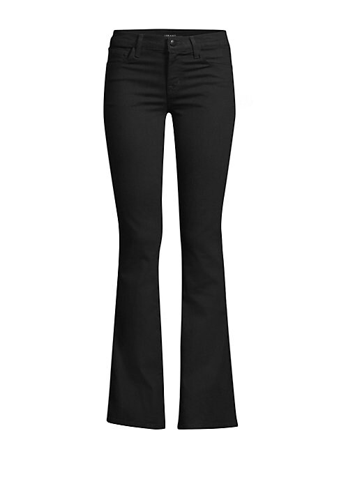 """Image of Timeless bootcut jean cut from a stretch denim. Five pocket styling. Zip fly. Bootleg cuff. Cotton/polyester/spandex. Machine wash. Imported. SIZE & FIT. Rise, about 9"""".Leg-opening, about 17"""".Inseam, about 32"""".Model shown is 5'10"""" (177cm) wearing US size"""