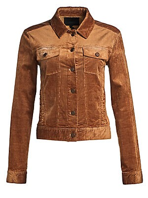 Image of ONLY AT SAKS. Crafted out of a stretch cotton blend, this corduroy jacket flaunts classic denim jacket styling. Point collar Long sleeves Buttoned cuffs Button front Chest buttoned patch pockets Cotton/viscose/elastane Dry clean Made in USA of Canadian fa