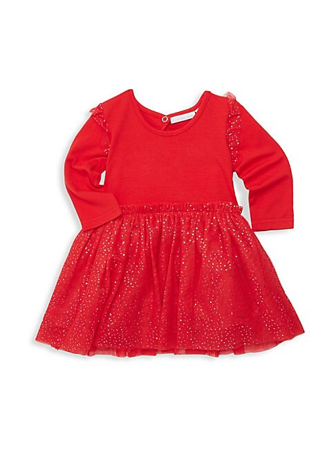 Image of A glitter-flecked tutu skirt is an adorable addition to this festive dress. Scoopneck. Long sleeves. Back keyhole ring snap closure. Tulle finish. Cotton/elastane. Skirt: Polyester. Machine wash. Imported.