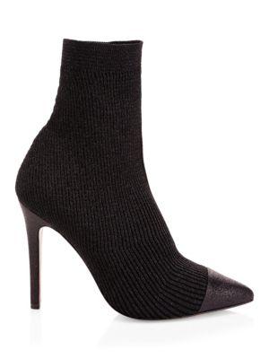 Darbin Ribbed Stiletto Sock Boots, Black