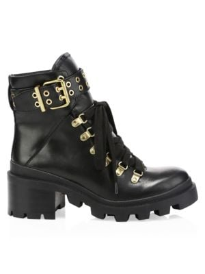 Havis Leather Chunky Combat Boots in Black