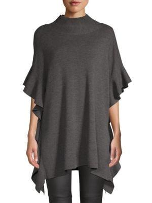 ELIE TAHARI Lucy Ruffled Merino Wool Sweater in Black