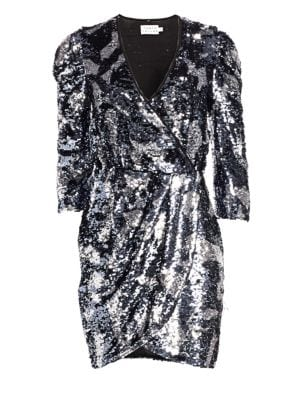 Zoey Sequined Camo 3/4-Sleeve Wrap Dress in Metallic