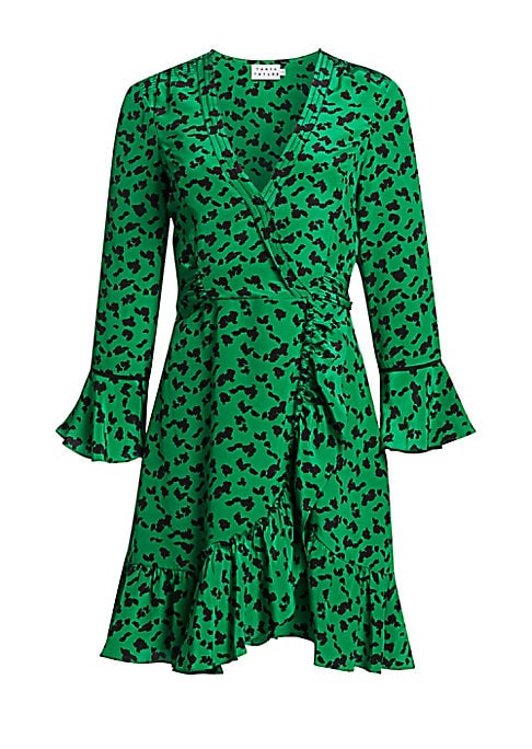 """Image of EXCLUSIVELY AT SAKS FIFTH AVENUE. Fit-and-flare wrap dress with feminine ruffle accents in a bold print.V-neck. Three-quarter bell sleeves. Concealed side zip. Wrap front. Self-tie belt. Ruffle hem. Lined. Silk. Dry clean. Imported. SIZE & FIT. About 35"""""""