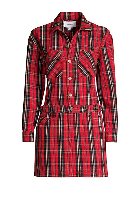 Image of Stretch cotton dress fuses a collared shirt and jean-style skirt in one playful tartan piece. Spread collar. Long sleeves. Button cuffs. Button front closure. Adjustable banded waist. Belt loops. Zip and button closure. Chest patch pockets. Five-pocket st