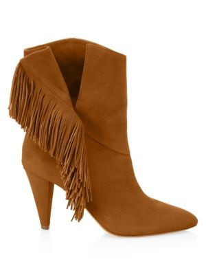 AQUAZZURA Wild Fringe 85 Suede Ankle Boots in Brown