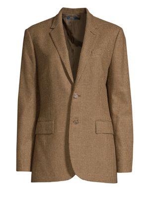 Houndstooth Check Wool Blend Blazer, Brown