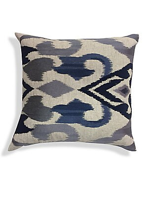 "Image of A chic velvet cushion with ombre embroidery accents. Removable leather-blend fill Velvet Lined Dry clean Imported SPECIFICATIONS 22""W x 22""H. Gifts - Bed And Bath > Saks Fifth Avenue. Callisto Home."