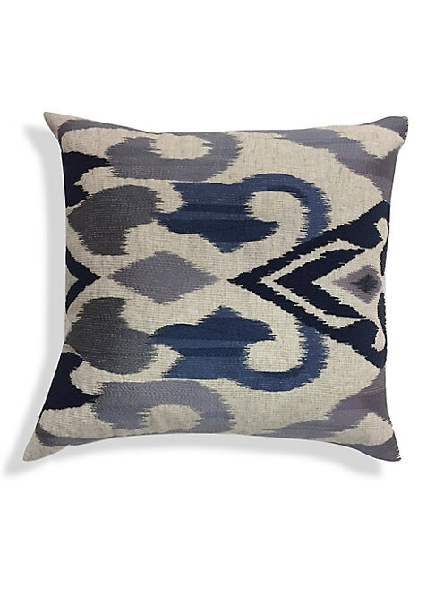"""Image of A chic velvet cushion with ombre embroidery accents. Removable leather-blend fill. Velvet. Lined. Dry clean. Imported. SPECIFICATIONS.22""""W x 22""""H."""
