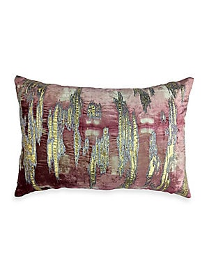 """Image of Beautiful blush and Shibori velvet pillow with gold foil and metallic embroidery. Zipper close Velvet finish Lined Polyester Removable fill: down/feathers Dry clean Imported SIZE 20""""W x 14""""H. Gifts - Bed And Bath. Callisto Home."""