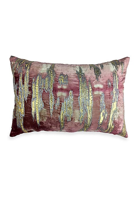 """Image of Beautiful blush and Shibori velvet pillow with gold foil and metallic embroidery. Zipper close. Velvet finish. Lined. Polyester. Removable fill: down/feathers. Dry clean. Imported. SIZE.20""""W x 14""""H."""