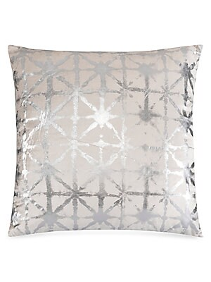 """Image of A silver shibori pattern enhances this luxurious velvet cushion. Removable feather-blend fill Velvet Lined Dry clean Imported SPECIFICATIONS 22""""W x 22""""H. Gifts - Bed And Bath. Callisto Home."""