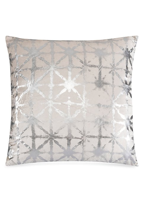 """Image of A silver shibori pattern enhances this luxurious velvet cushion. Removable feather-blend fill. Velvet. Lined. Dry clean. Imported. SPECIFICATIONS.22""""W x 22""""H."""