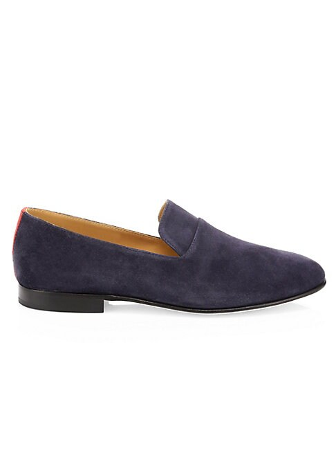 Image of On-trend suede loafers are a versatile footwear essential. Suede upper. Almond toe. Slip-on style. Leather lining and sole. Made in Italy.