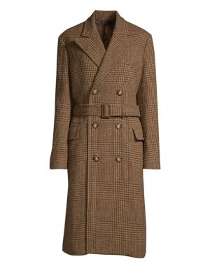Wool Houndstooth Trench Coat, Brown