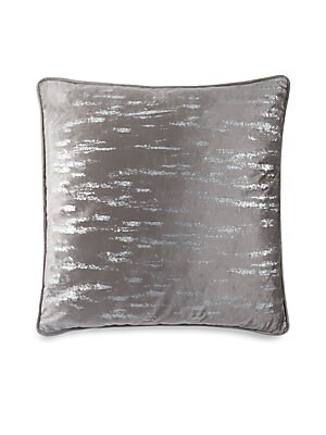"""Image of Beautiful velvet throw cushion highlighted by metallic silver printing. Velvet Lined Removable fill Fill: Down/feather blend Dry clean Imported SPECIFICATIONS 26""""W x 26""""H. Gifts - Bed And Bath. Callisto Home."""