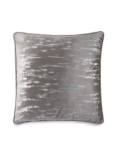 """Image of Beautiful velvet throw cushion highlighted by metallic silver printing. Velvet. Lined. Removable fill. Fill: Down/feather blend. Dry clean. Imported. SPECIFICATIONS.26""""W x 26""""H."""
