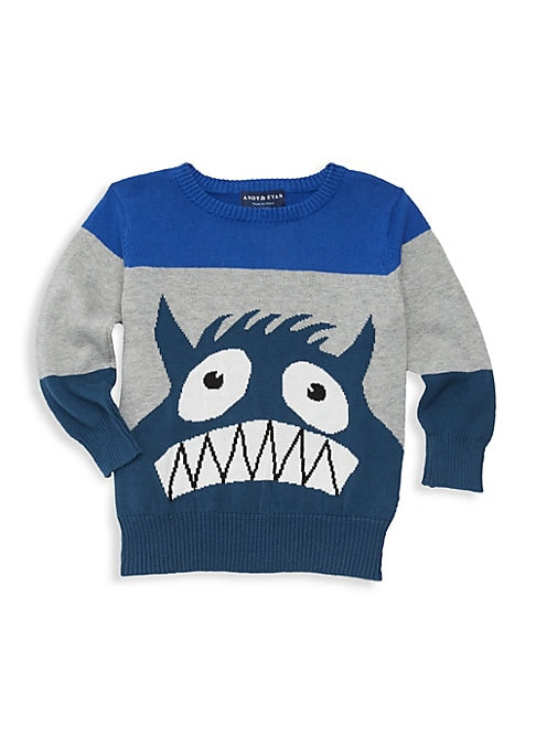 Image of Colorblock knit sweatshirt features a quirky monster graphic. Crewneck. Long sleeves. Rib-knit neck, cuffs and hem. Pullover style. Cotton. Machine wash. Imported.