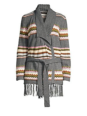 """Image of Bohemian stripes and patterns elevate this fringed cardigan. Shawl collar Long sleeves Self-tie front Fringed hem Alpaca/acrylic Dry clean Imported SIZE & FIT About 32"""" from shoulder to hem Model shown is 5'10"""" (177cm) wearing US size Small. Contemporary"""
