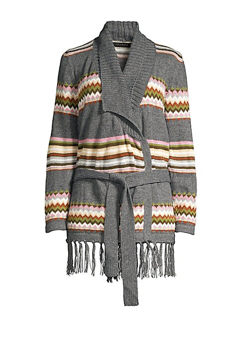 """Image of Bohemian stripes and patterns elevate this fringed cardigan. Shawl collar. Long sleeves. Self-tie front. Fringed hem. Alpaca/acrylic. Dry clean. Imported. SIZE & FIT. About 32"""" from shoulder to hem. Model shown is 5'10"""" (177cm) wearing US size Small."""