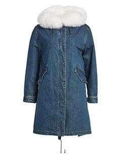 78c55cbfdee Fur Trim Denim Coat DENIM WHITE. QUICK VIEW. Product image